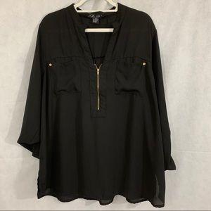 Miss Lili Long Sleeve V-Neck Blouse Black Size 2X